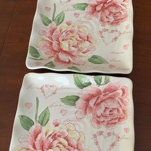 2 Porcelain serving plate pink roses pattern 29 cm